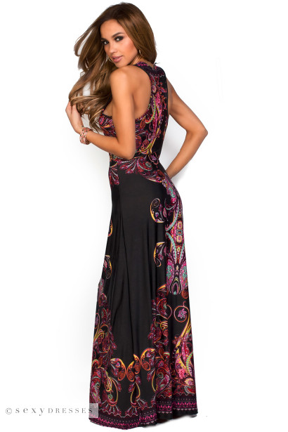 """Mikayla"" Black and Pink Racerback Paisley Print Maxi Dress"