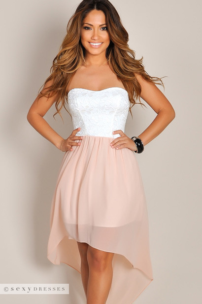 Grace&quot White Lace &amp Peach Pink Chiffon Strapless High Low Dress