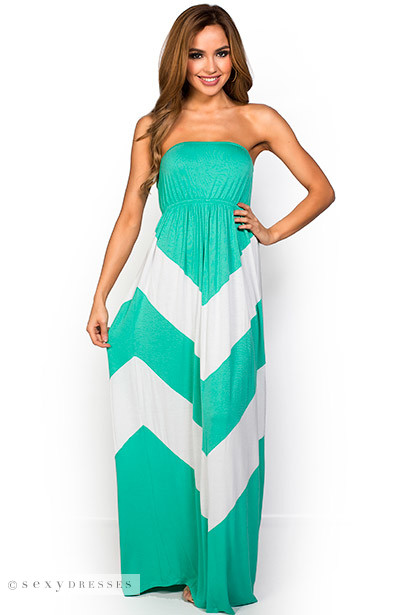 "Rafaela"" Mint Green and White Graphic Chevron Strapless Summer ..."