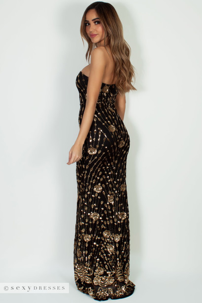 """""""Vivacious Vibes"""" Black & Gold Sequined Maxi Gown"""