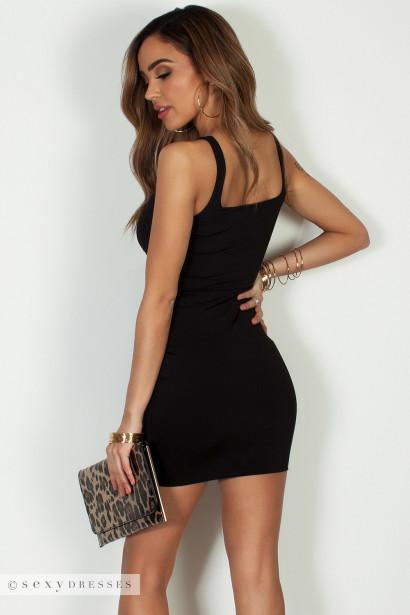 """Always On Time"" Black Layered Square Neck Mini Dress"