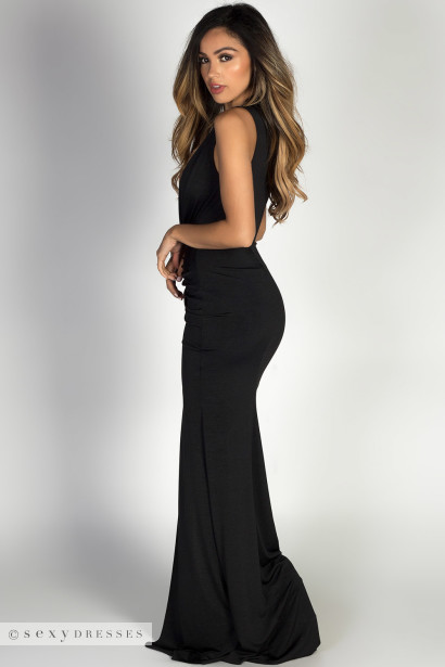 """Jessica"" Black Sleeveless Plunging Deep V Glam Maxi Dress"