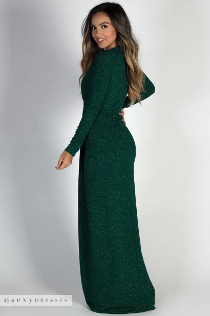 """Holiday Romance Hunter Green Glitter Deep V Long Sleeve Maxi Gown"