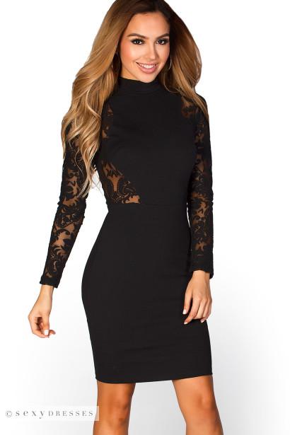 Edina Black High Neck Long Sleeve Lace Cut Out Dress