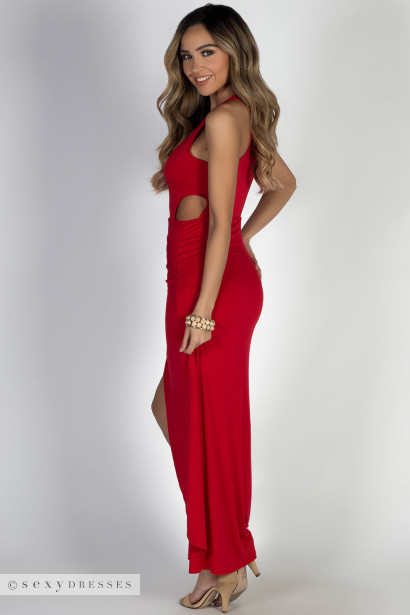 """Bad at Love"" Red Sleeveless Side Cutout Maxi Dress"