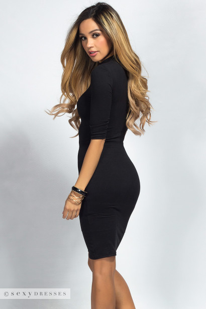 """Alva"" Black 3/4 Sleeve Jersey Bodycon Turtleneck Midi Dress"