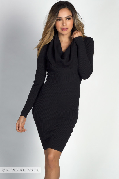 The Autumn Daze Black Cowl Neck Long Sleeve Sweater Dress is fuzzy and oh so comfortable to wear day and night!! This mini has a ribbed cowl neckline with ribbed long sleeves, I .