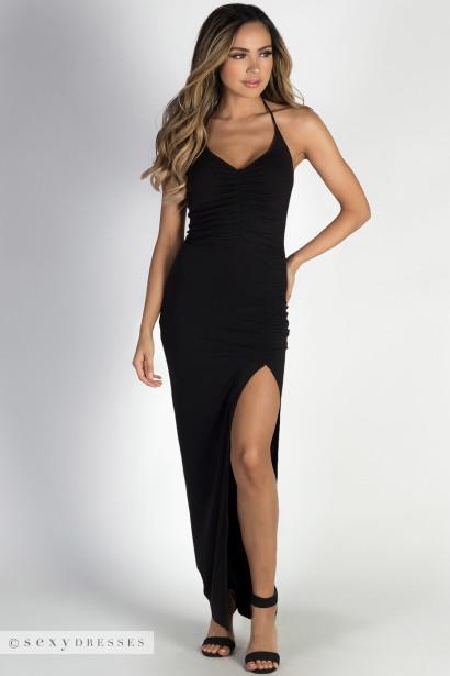 """As You Wish"" Black Side Slit Halter Maxi Dress"