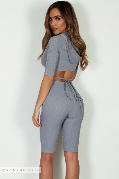 """In Love By Now"" Grey Hooded Front Tie Crop Top W/ Shorts"