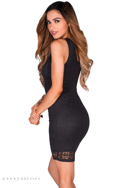 """""""Christen"""" Black Sleeveless Plunging Lattice Cut Out Lace Cocktail Dress"""