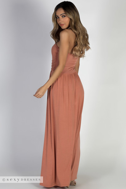 """California Sun"" Dusty Apricot Strapless Tube Top Maxi Dress"