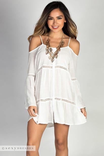 One Shoulder White Summer Dress