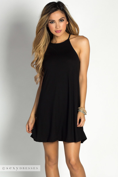 """Emma"" Black High Neck Halter Short Tunic Trapeze Dress"