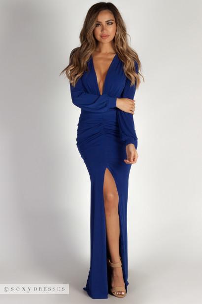 """Divine Feminine"" Royal Long Sleeve Deep V Maxi Gown"