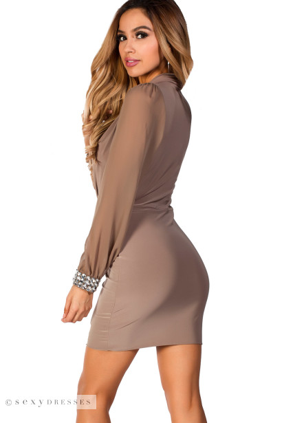 """Bijou"" Beige Wrap Front Long Sleeve Cocktail Dress with Jewel Cuffs"