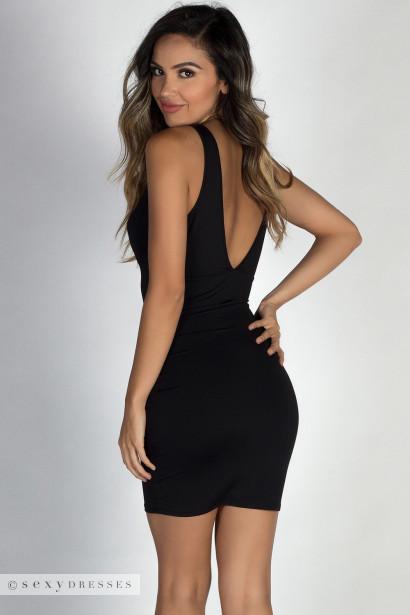 """Dream Date"" Black Deep V Sleeveless Short Sexy Dress"