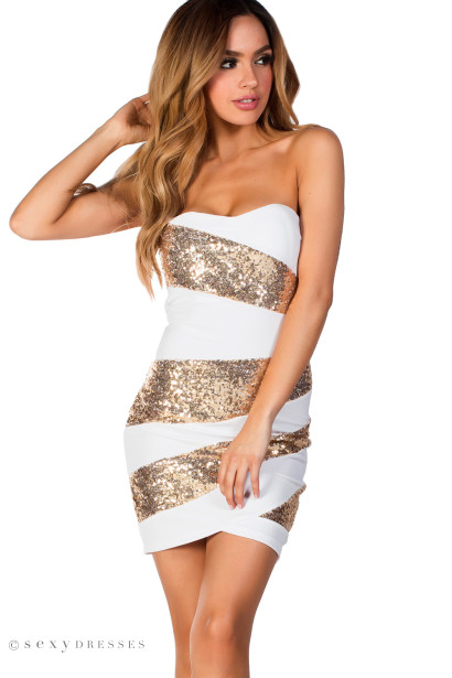 """Alexis"" White and Gold Sequin Strapless Cocktail Party Dress"