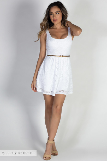 """Downtown Babe"" White Lace Belted A-Line Skater Dress"