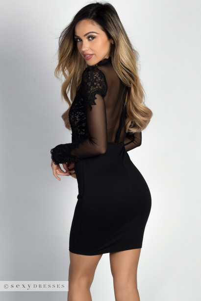 """Rosalba"" Black Lace & Mesh Bodice Long Sleeve Cocktail Dress"