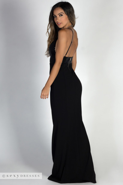 """Rising Star"" Black Deep V Sequin Bodice Mermaid Maxi Gown"