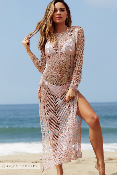 Moulin Rouge Rose Gold Metallic Long Sleeve Cover Up Dress