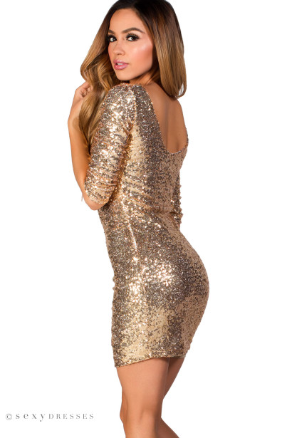 """Sadie"" Gold Fitted Sequin Party Dress with Sleeves"