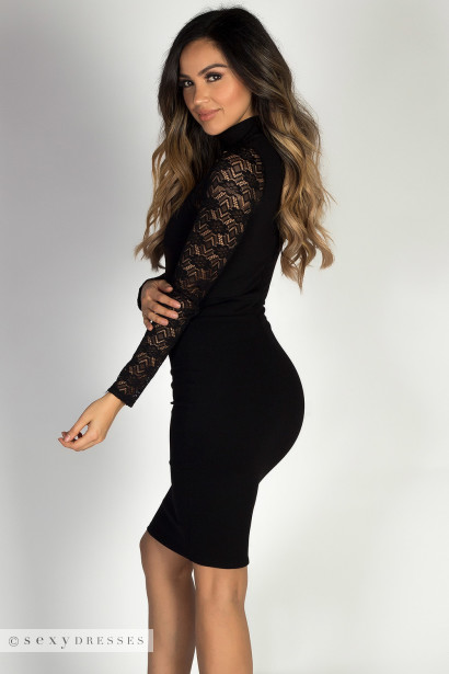 """Power of Love"" Black Sweetheart Cut Out Long Lace Sleeve Cocktail Dress"