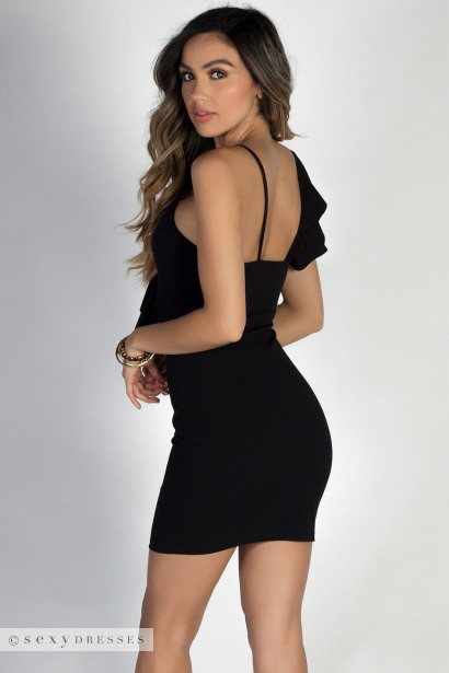 Fantasy Black Short Bodycon One Shoulder Sexy Ruffle Dress