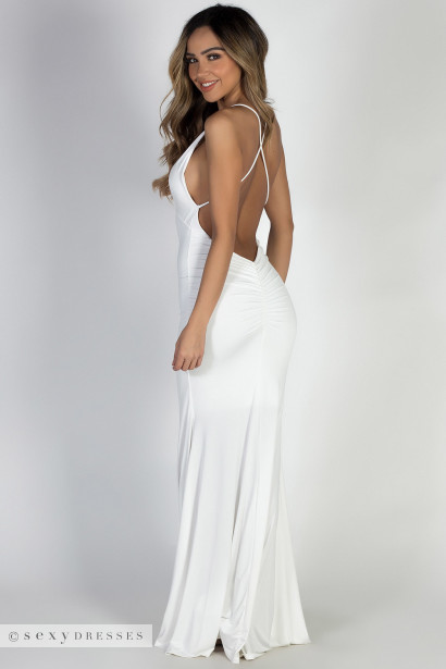 """Moon River"" White Strappy Backless Mermaid Maxi Gown"