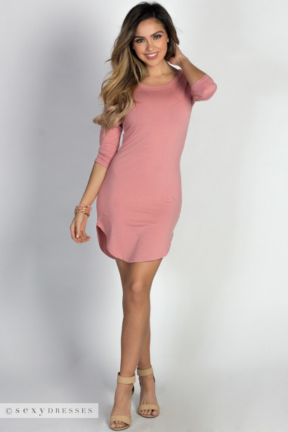 """Alaya"" Dusty Rose 3/4 Sleeve T-Shirt Tunic Dress"