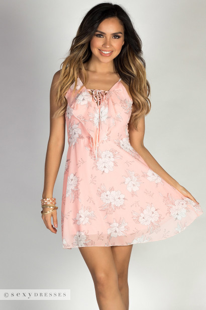 """Baby Love"" Blush Floral Sketch Print Strappy Chiffon Dress"