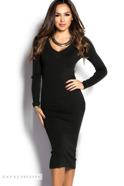Black v neck sweater dress