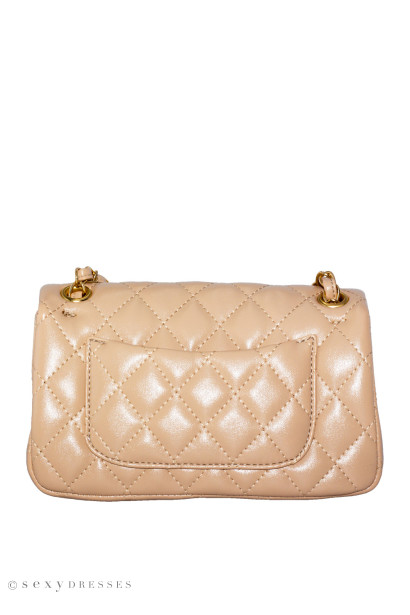 Tan Leather Diamond Stitch Handbag