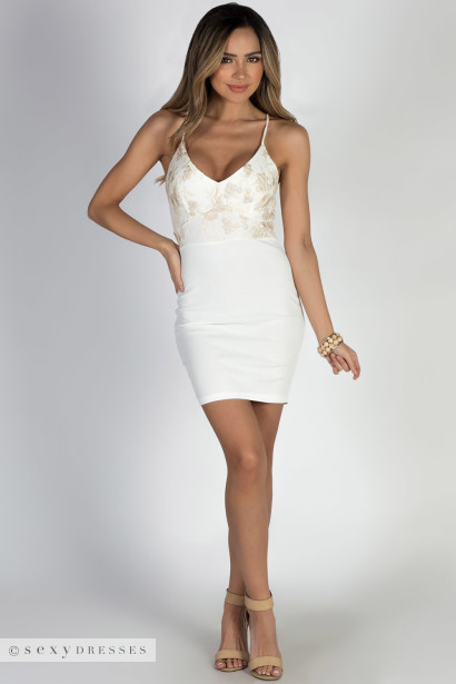 """Love Goddess"" Ivory V-Neck Cocktail Dress"