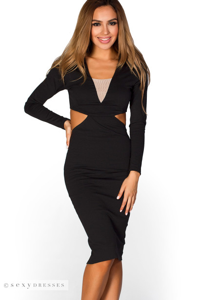 Pietra Black Long Sleeve Cut Out Bodycon Midi Dress Shop By Style
