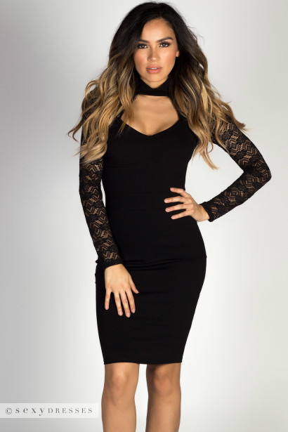 Black Sweetheart Cut Out Long Lace Sleeve Cocktail Dress
