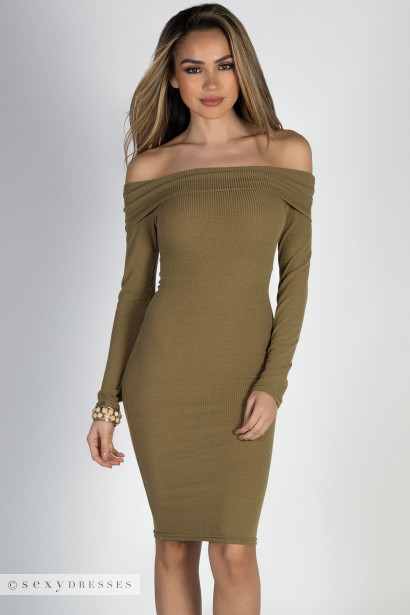 Come On Over Olive Off Shoulder Long Sleeve Bodycon Dress