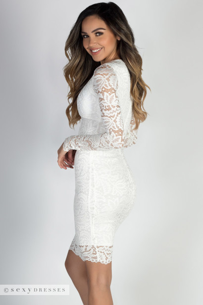 """At Last"" White Long Sleeve V Neck Elegant Lace Dress"