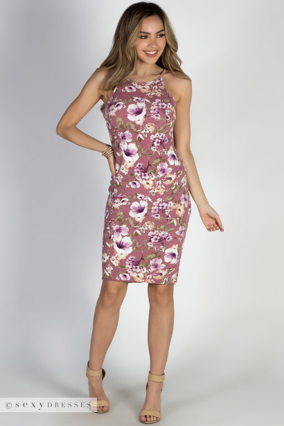 """""""Storybook Ending"""" Mauve Floral Bodycon Strappy Midi Dress"""