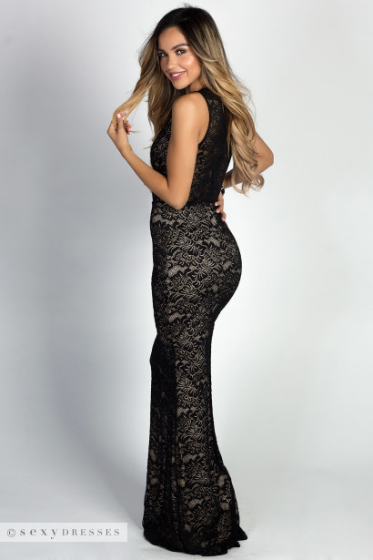 """Helene"" Black Lace Sleeveless Plunging Lace Up Mermaid Maxi Gown"