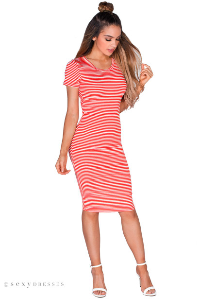 """Sylvie"" Red & White Stripes Short Sleeve Cut Out Midi Dress"