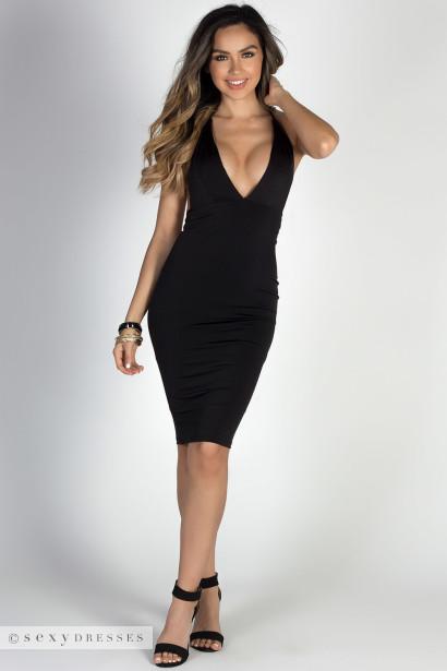 """Miss Thing"" Black Plunging V Neck Backless Midi Halter Cocktail Dress"