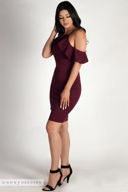 """Better Off Alone"" Plum Cold Shoulder Halter Dress"