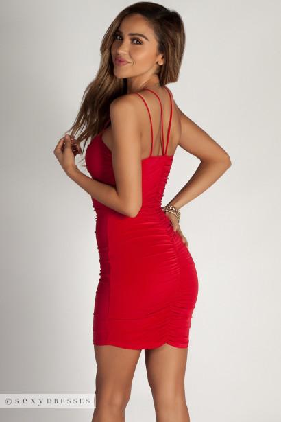 """""""It's A Possibility"""" Red Ruched Spaghetti Strap Bodycon Mini Dress"""