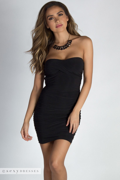 """Guap On Me"" Black Ruffled Tube Mini Dress"