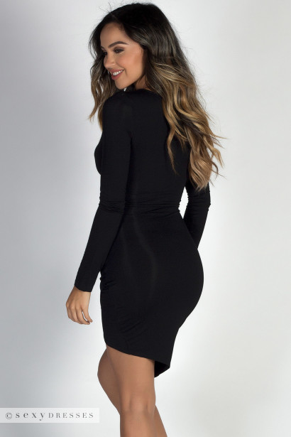 """Love You Always"" Black Asymmetrical Long Sleeve Jersey Wrap Dress"