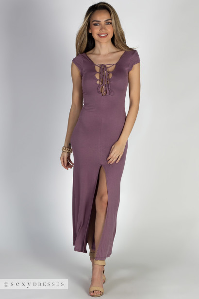 """Wait For It"" Dusty Plum Short Sleeve Lace Up V Neck Maxi Dress"