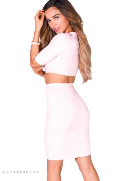 """Traci"" Blush Pink 3/4 Sleeve V Neck Crop Top & Pencil Skirt 2 Piece Dress"