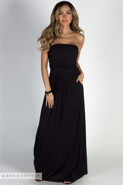 """California Sun"" Black Strapless Tube Top Maxi Dress"