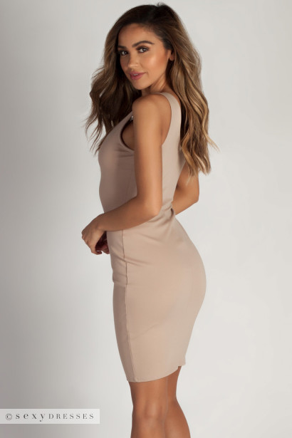 """This Me"" Khaki Essential Scoop Neck Above Knee Dress"